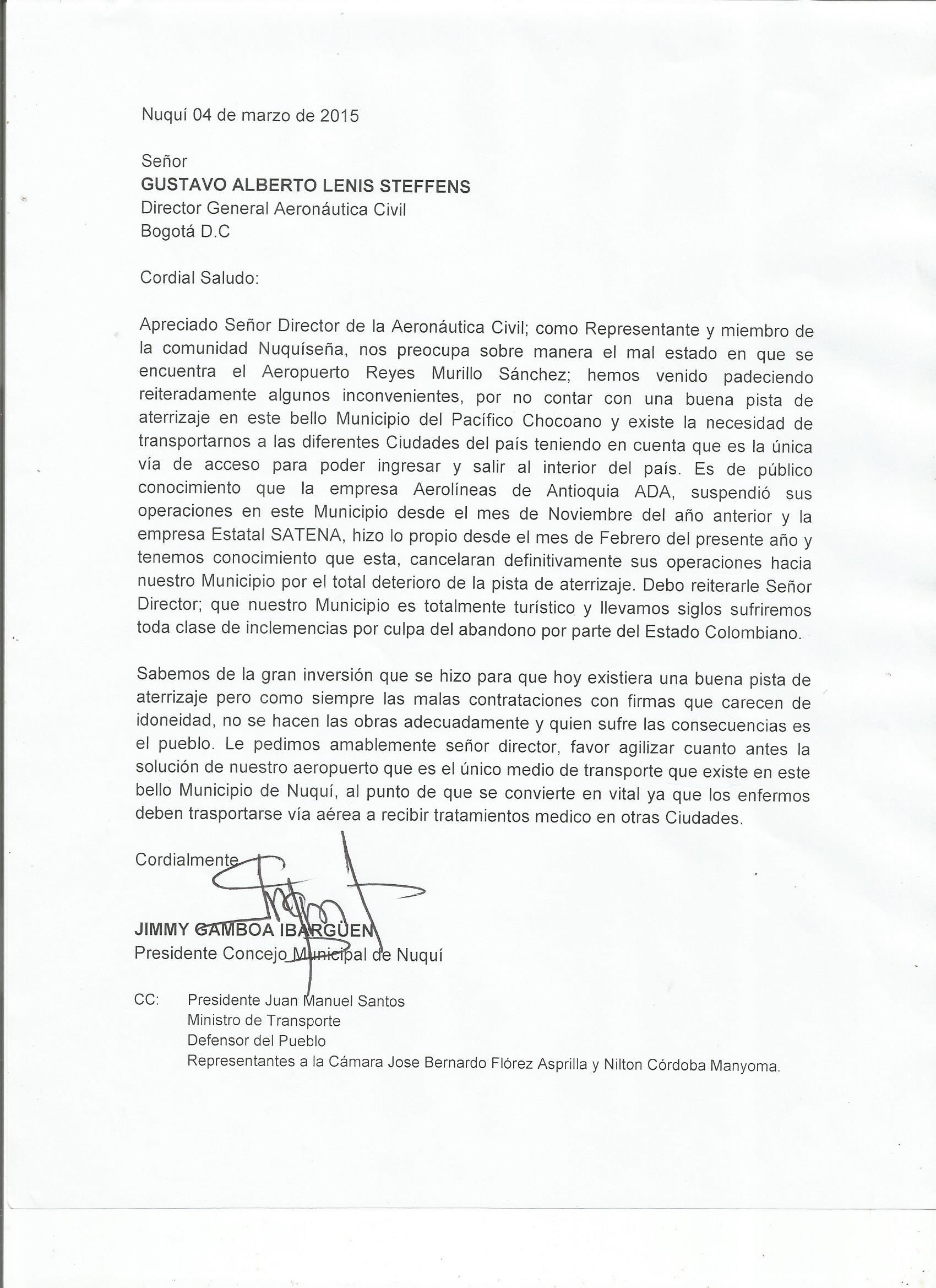 Carta de denuncia dirigida al director de la Aeronáutica Civil