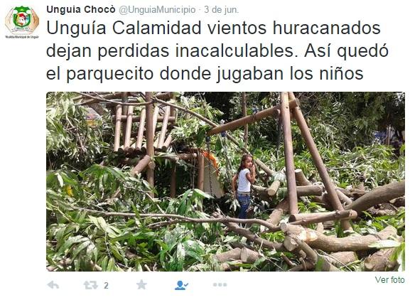 Vendaval afectó a la población de Ungía Chocó