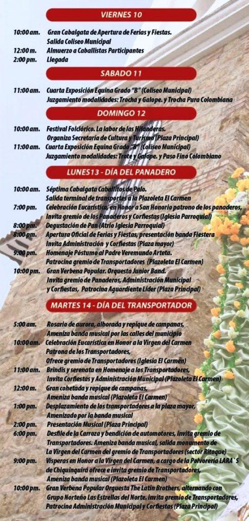 Villa de Leyva  celebra las Ferias y Fiestas de La Virgen del Carmen